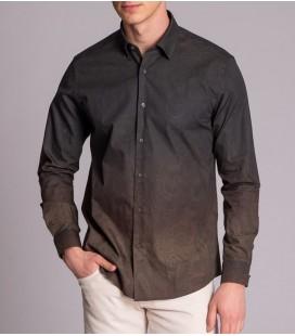 Dufy Desenli Erkek Gömlek Füme DU1184013012