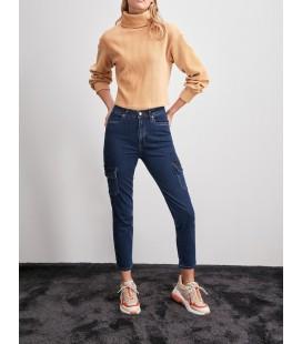 Trendyolmilla Lacivert Kargo Cep Yüksek Bel Slim Fit Jeans TWOAW20JE0293