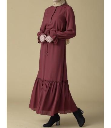 Armine Bağcık Bağlamalı Bordo Elbise 9K9819
