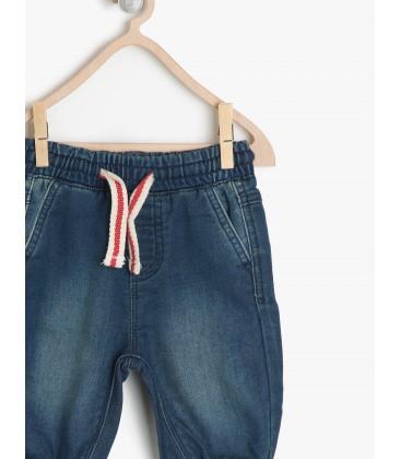Koton Kids Beli Bağcıklı Normal Bel, Rahat Kesim Jean Pantolon  7KMB48813ODFA3