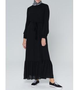 Armine Kadın Siyah Kemer Detaylı Elbise 9K9840