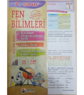 7.SINIF FEN BİLİMLERİ YAPRAK TEST Dörtrenk Yayınları