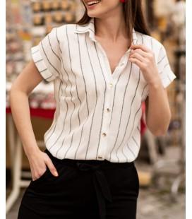 Armonika Kadın Füme Keten Çizgili Kısa Kol Gömlek 19Y001067