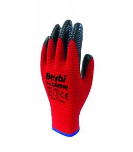 Beybi Pn Zebra Nitril İş Eldiveni Kırmızı Siyah Boy 16