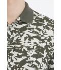 Hatemoğlu Desenli Polo Yaka Haki T-shirt 35363018C005