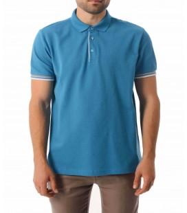 Hatemoğlu Desenli Polo Yaka Turkuaz T-shirt 35361018C007