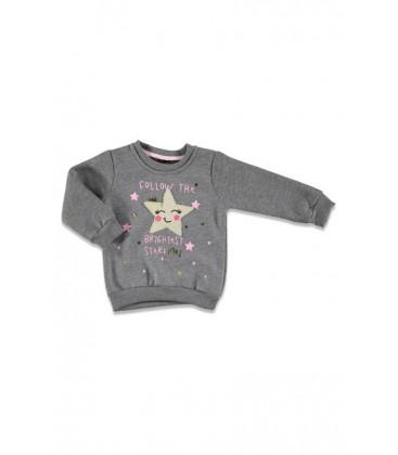 Tuffy Mutlu Surat Üç İp Baskılı Kız Bebek Sweatshirt 19KTFYKSWT013