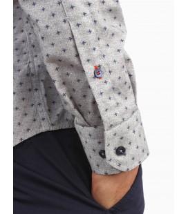 Dufy Gri̇ Baskili İnce Sik Dokuma Erkek Gömlek - Ekstra Slim Fit DU1184012008