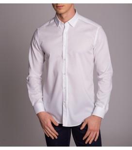 Dufy Beyaz Desenli Klasik Slim Fit Erkek Gömlek DU3194015015