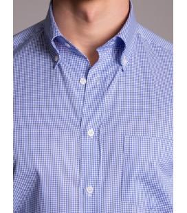 Dufy Erkek Gömlek DU3194015010 Mavi Pötikara Pamuklu Erkek Gömlek