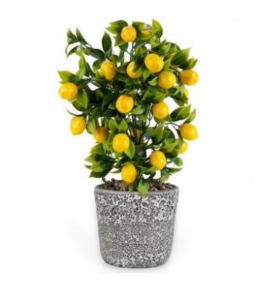 Çiçekmisin Porselen Saksıda Yapay Limon Ağacı 39cm