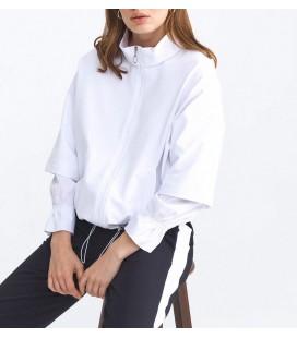 Xint Kadın Dik Yaka Pamuklu Rahat Kesim Beyaz Sweatshirt 400258