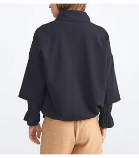 Xint Kadın Dik Yaka Pamuklu Rahat Kesim Siyah Sweatshirt 400258