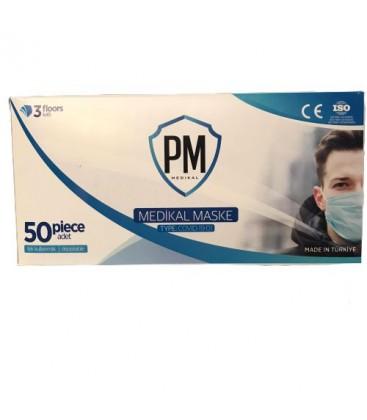 Pm Medikal 3 Katlı Burun Telli Cerrahi Koruyucu Maske 50 Adet
