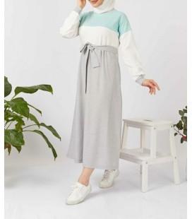 Elizamoda Kadın Kuşaklı Spor Tesettür Elbise Mint 903-051