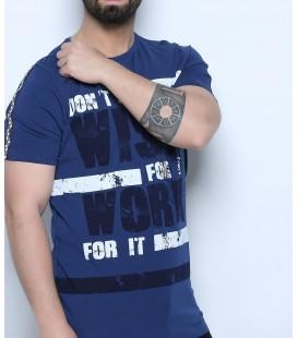 Hacker Erkek Lacivert Ön Baskılı Bay T-shirt TM51103.0054-78