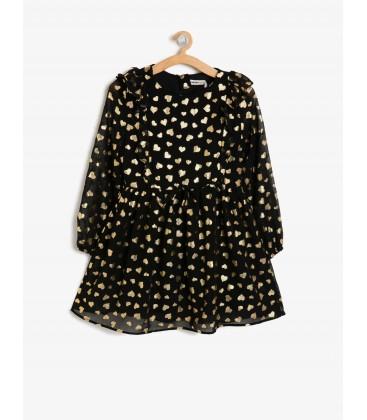 Koton Kız Çocuk Desenli Elbise - Siyah 9KKG87624OW01V