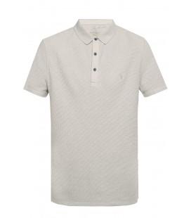 AllSaints Clash Kısa Kollu Polo Tişört, Gri MD080L