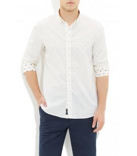 Mavi Erkek Beyaz Jakarlı Gömlek 020387-620