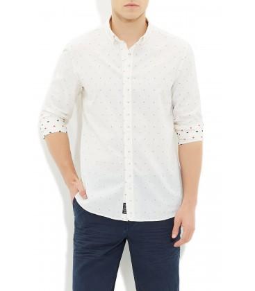 Mavi Erkek Beyaz Jakarlı Gömlek
