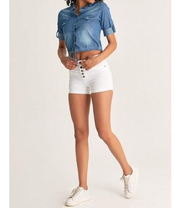Fulla Kadın 4 Düğme Detaylı Mini Beyaz Şort 18YGB1900107023