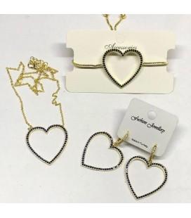 Seymen Kadın Zirkon Taş Kalp Detaylı Küpe Kolye Bileklik Set Gold