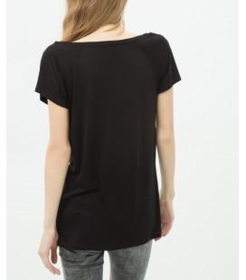 Koton Kadın Oyuk Yaka T-Shirt - Siyah 6YAL11280OK999