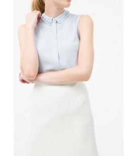 Koton Kadın Kolsuz Yaka Detaylı Gömlek - Açık Mavi 6KAK62905CW610