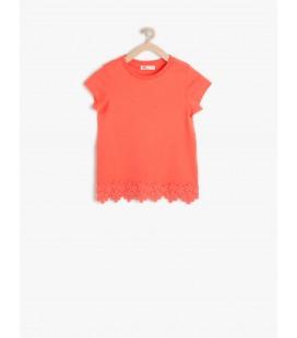 Koton Dantel Detaylı T-Shirt 6YKG17536OK402