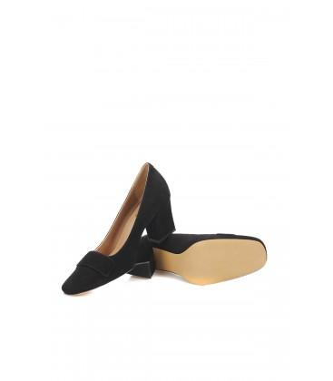 İnci Hakiki Deri Süet Siyah Kadın Klasik Topuklu Ayakkabı 7084 120130009116