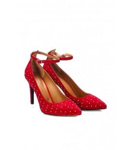 İnci Hakiki Deri Süet Kırmızı Kadın Klasik Topuklu Ayakkabı  6727 120130008718