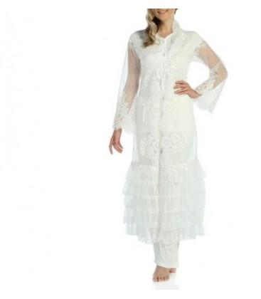 Madam VOQ Canyon 3'Lü Fransız Güpürlü Gelin Pijama Seti