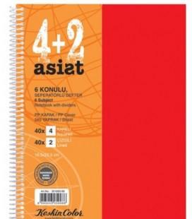 Keskin Color 351893-99 Plastik Kapak Spiralli 4+2 Ayraçlı 240 Yaprak Deft