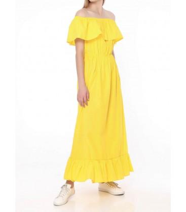 Modamoss Kadın Sarı Madonna Yaka Uzun Elbise 8K03ELB2490