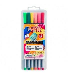 C-Style 12 Li Fınelıner İnce Uçlu Keçeli Kalem