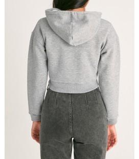 Fullamoda Fermuarlı Kısa Sweatshirt