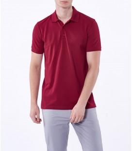 Dufy Bordo Polo Yaka Baskılı Erkek T-Shirt DU2172041001