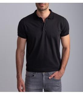 Dufy Siyah Polo Yaka Baskılı Erkek T-Shirt DU2172041003