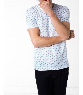 Defacto Erkek Beyaz Mikro Desenli T-Shirt F4886AZ