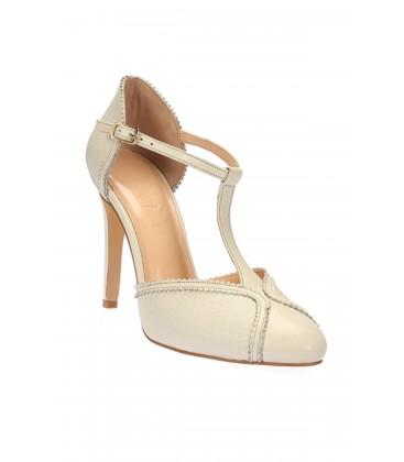 İnci Hakiki Deri Bej Kadın Topuklu Ayakkabı 5999 120130006528
