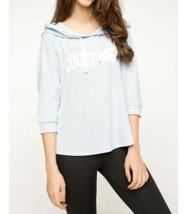 Defacto Kadın Mavi Kapüşonlu Sweatshirt G8890AZ