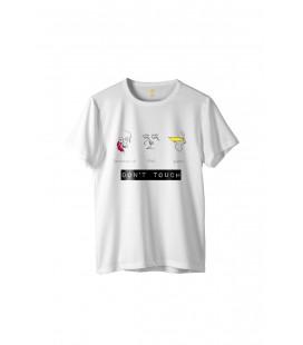 "Zhoppers Don""t Touch Beyaz Tasarım T-shirt"