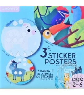 Kidmosfer - 3'lü Sticker Poster - Orman Kutup ve Çiftlik