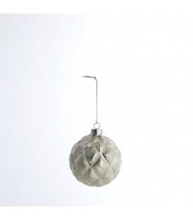 Gümüş Glitter Cam Yılbaşı Topu 8 cm