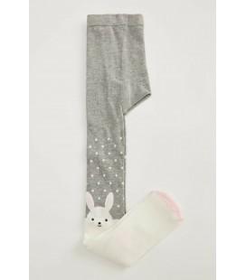 Defacto Kız Çocuk Gri Tavşan Desenli Külotlu Çorap T9609A620AU
