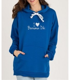 Selin Baltacıoğlu Mavi Kapüşonlu I Love Burnumun Diki Sweatshirt