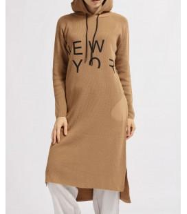 Nefise Cepli New York Baskılı Kapüşonlu Uzun Triko Tunik 14218