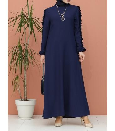 Sefamerve Lacivert Kolları Fırfırlı Elbise 7004-04