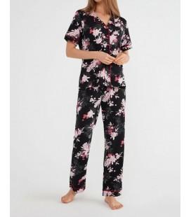 Suwen Kadın Siyah Baskılı Felicity Maskülen Pijama Takımı SH21515660B