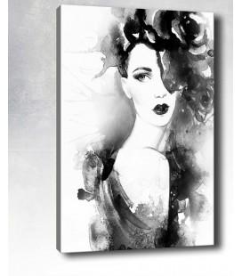 Kadın Portre Siyah Beyaz Kanvas 30x20cm